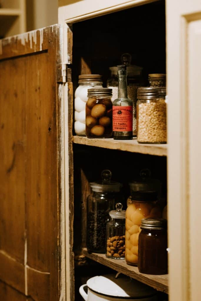 using kitchen cabinets as pantry